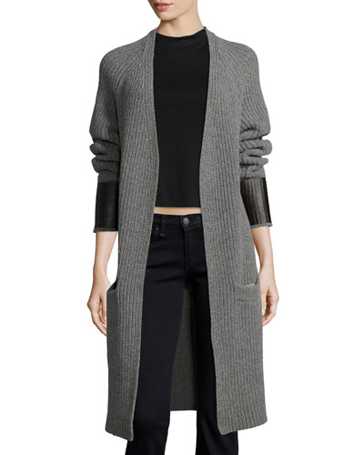 Bonnie Open-Front Long Cardigan, Medium Gray