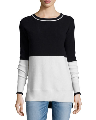 Pamela Colorblock Stripe Sweater, Black