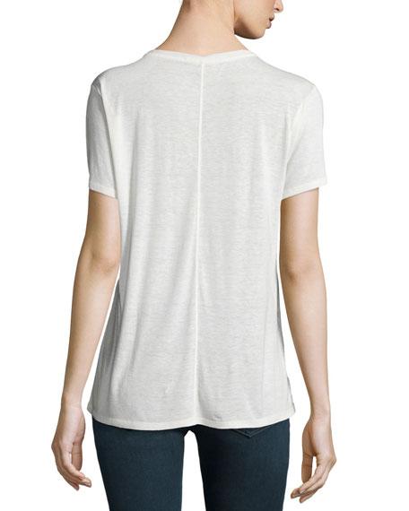 Concert Round-Neck Short-Sleeve Tee, White/Black