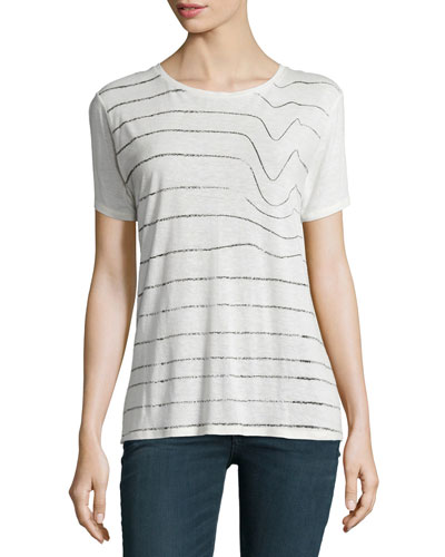 Concert Round-Neck Short-Sleeve Tee, White/Black