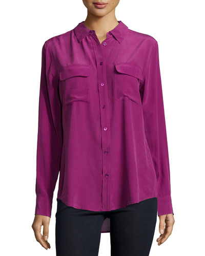 Slim Signature Long-Sleeve Silk Shirt, Malbec