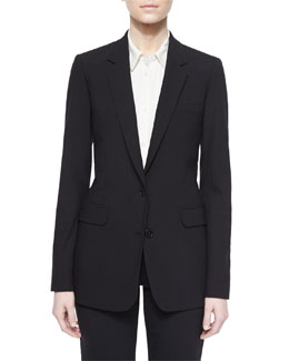 Long Button-Front Crepe Blazer