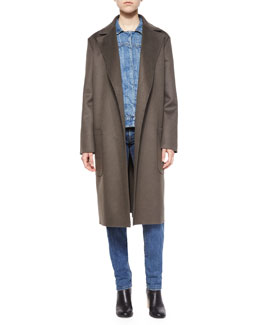 Double-Face Wool/Cashmere Coat, Bark
