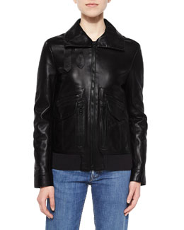 Leather Pocket-Detail Zip Jacket, Black