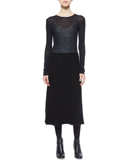 Terry Mixed-Texture Long Dress