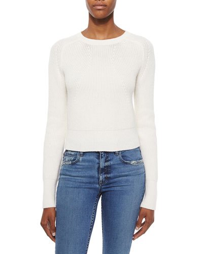 Cashmere-Wool Cropped Knit Sweater