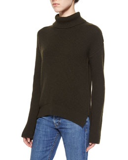 Cashmere-Wool Turtleneck Sweater, Olive