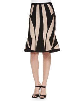 Geometric Pattern Flounce-Hem Skirt