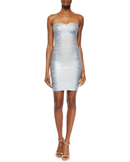 Strapless Metallic Bandage Dress, Ice Gray