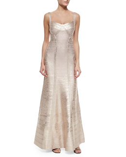 Wide-Strap Metallic Bandage Gown