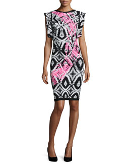 Flutter-Sleeve Brushstroke Ikat Bandage Dress