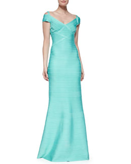 Off-The-Shoulder Bandage Gown, Seafoam
