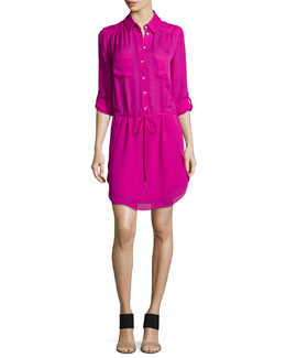 Long-Sleeve Silk Shirtdress, Carmine