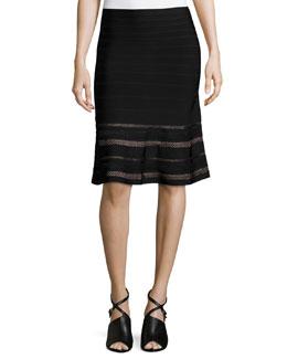 Pointelle Jacquard A-Line Skirt