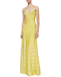 V-Neck Bandage Gown with Pointelle Insets
