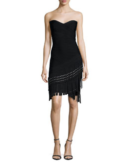 Strapless Fringe Bandage Dress, Black