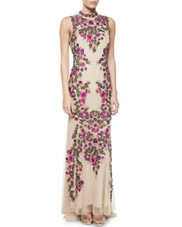 Floral Beaded & Embroidered Mermaid Gown, Suntan Multi
