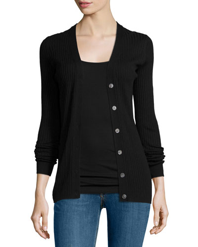Ribbed Stretch-Wool Cardigan, Black