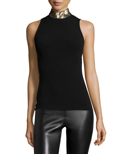Malia Sleeveless Mock-Neck Top, Black