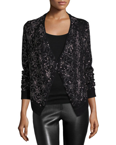 Long-Sleeve Nena Wool Cardigan, Black