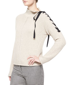 Auger Tie-Neck Sweater, Ivory