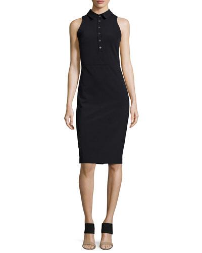 Sleeveless Collared Shirtdress, Black