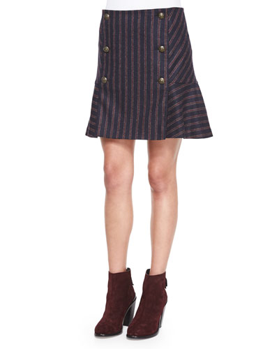 Forge Striped Button Flare Skirt, Navy/Red