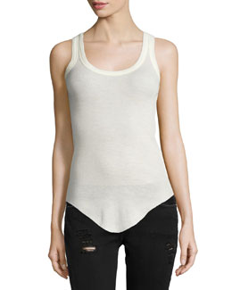 Lily Wool Scoop-Neck Tank, Ecru