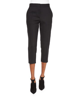 Amaele Cropped Wool Pants, Black
