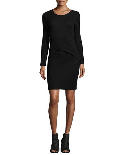 Aenor Twist-Front Long-Sleeve Dress, Black