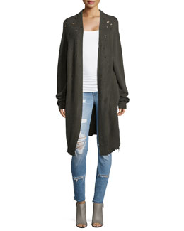 Serge Open-Front Cashmere Cardigan W/Distressing, Commando