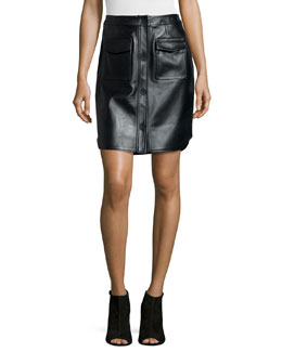 Leather Button-Front Miniskirt