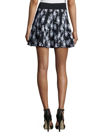Daisy Floral-Print Flare Skirt