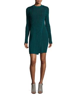 Long-Sleeve Ribbed Faux-Wrap Sweaterdress, Fern Green