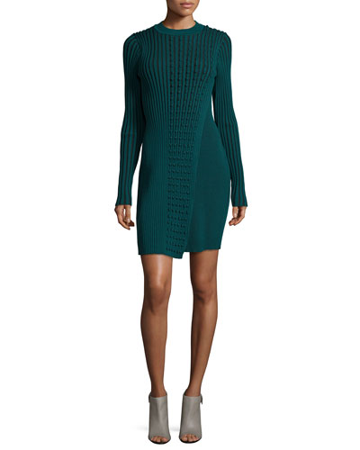 Long-Sleeve Ribbed Faux-Wrap Sweaterdress, Fern Green