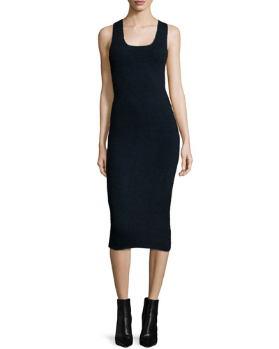Sleeveless Ribbed Midi Dress, Midnight