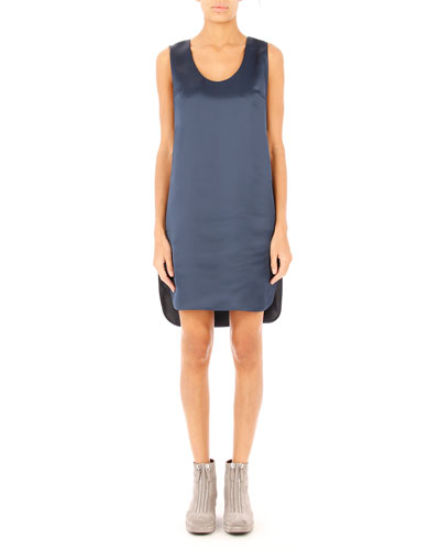Satin Football Tank Dress, Midnight