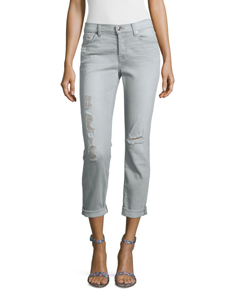 Josefina Slim Boyfriend Destroyed Jeans, Distressed Gray