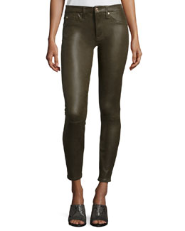High Waist Ankle Skinny Crackle Leather-Like Jeans, Hunter Green Crackle
