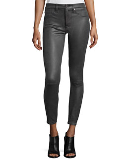 High Waist Ankle Skinny Crackle Leather-Like Jeans, Charcoal Grey Crackle
