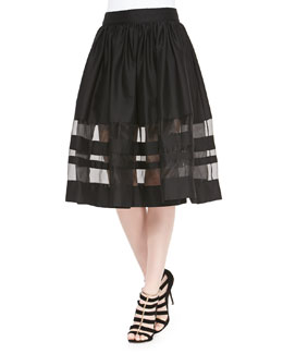 Misty Mid-Length Sheer-Hem Skirt