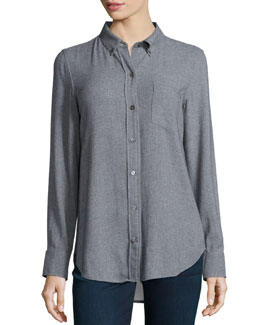 Simara Knit Button-Front Blouse
