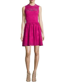Solid Sleeveless Rib-Stitched Dress