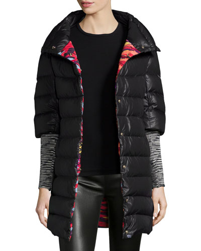 Solid Puffer Coat W/ Knit Sleeves