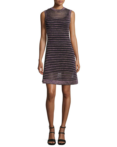 Sleeveless Ribbed Mesh Dress