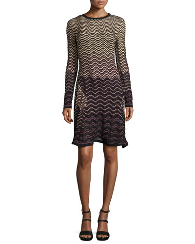 Long-Sleeve Ripple-Stitch Dress