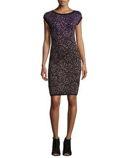 Cap-Sleeve Round-Neck Sheath Dress