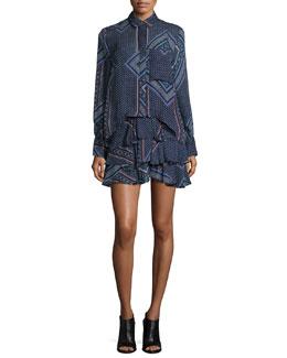 2-N-1 Ruffed Skirt Shirtdress
