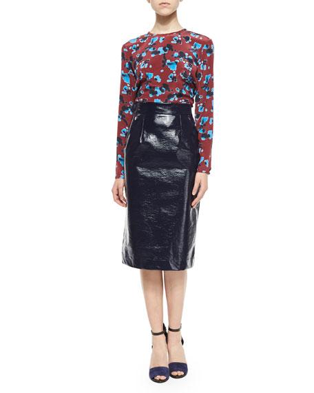 Patent Marny Pencil Skirt, Navy