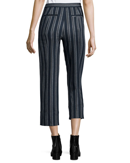 Cross-Front Striped Ankle Pants